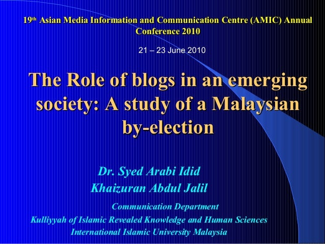 19th Asian Media Information and Communication Centre (AMIC) Annual                            Conference 2010            ...