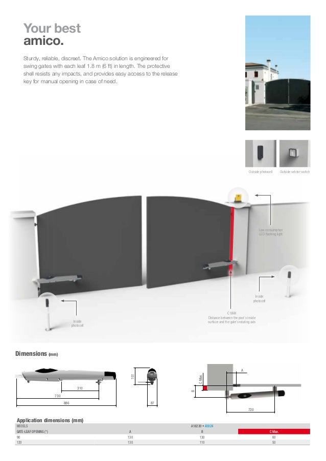 Came Swing Gate Operator Amico Brochure Solution