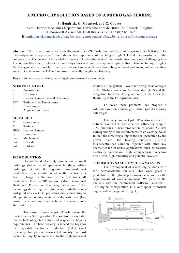 A MICRO CHP SOLUTION BASED ON A MICRO GAS TURBINE                               P. Hendrick, C. Moentack and G. Courcy    ...