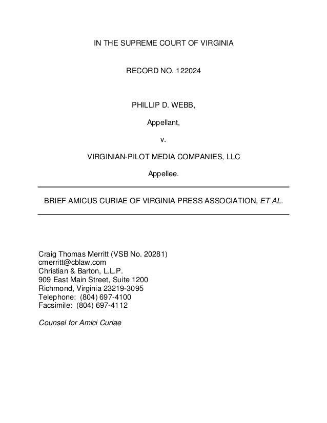 IN THE SUPREME COURT OF VIRGINIA  RECORD NO. 122024  PHILLIP D. WEBB, Appellant, v. VIRGINIAN-PILOT MEDIA COMPANIES, LLC A...