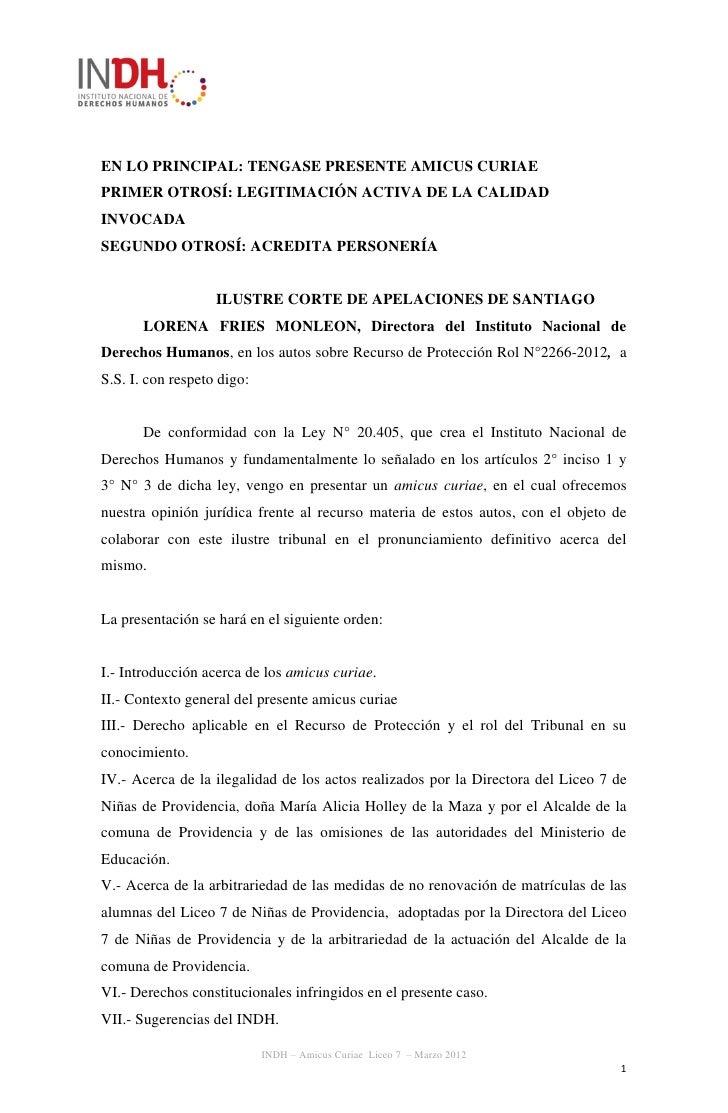 EN LO PRINCIPAL: TENGASE PRESENTE AMICUS CURIAEPRIMER OTROSÍ: LEGITIMACIÓN ACTIVA DE LA CALIDADINVOCADASEGUNDO OTROSÍ: ACR...