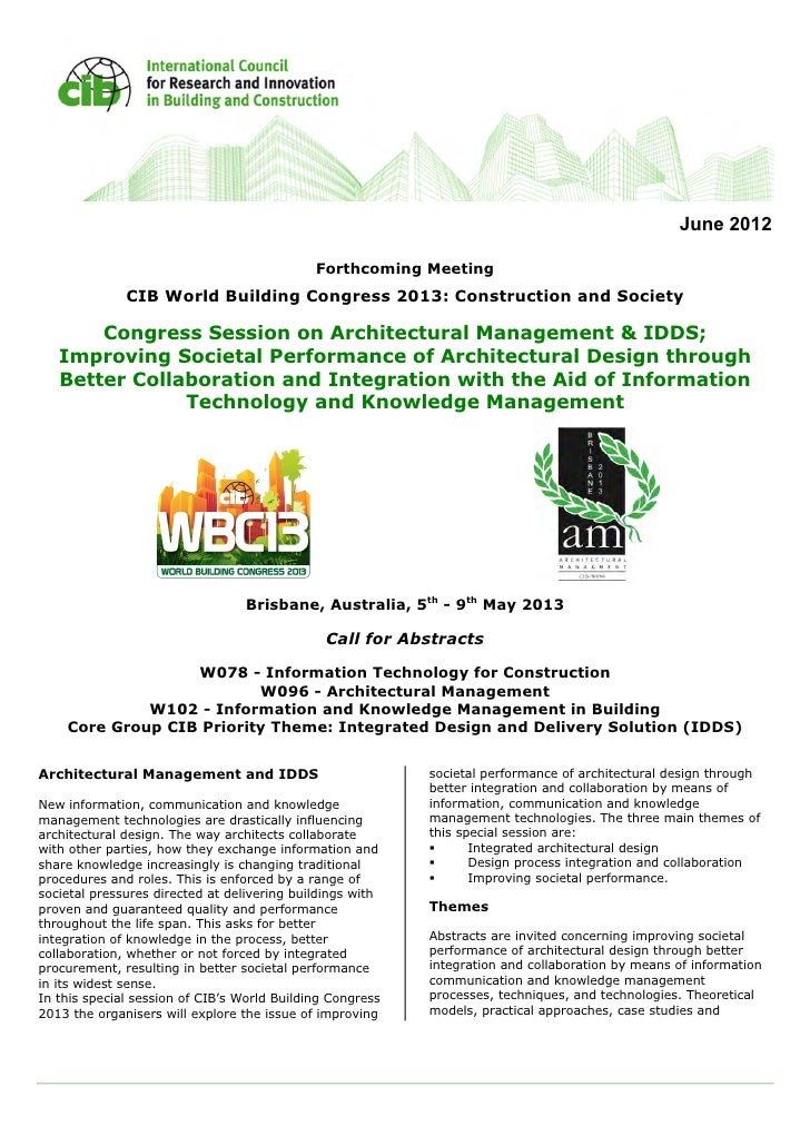 June 2012                                             Forthcoming Meeting              CIB World Building Congress 2013: C...
