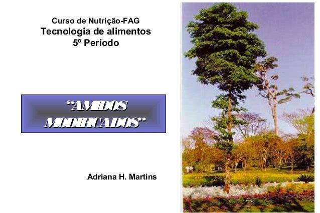 """Curso de Nutrição-FAGTecnologia de alimentos      5º Período  """"AM IDOSMODIFICADOS""""          Adriana H. Martins"""
