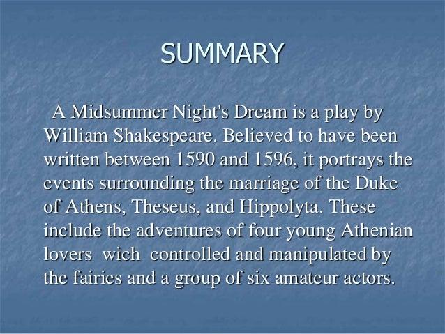 brief summary of a midsummer night's dream