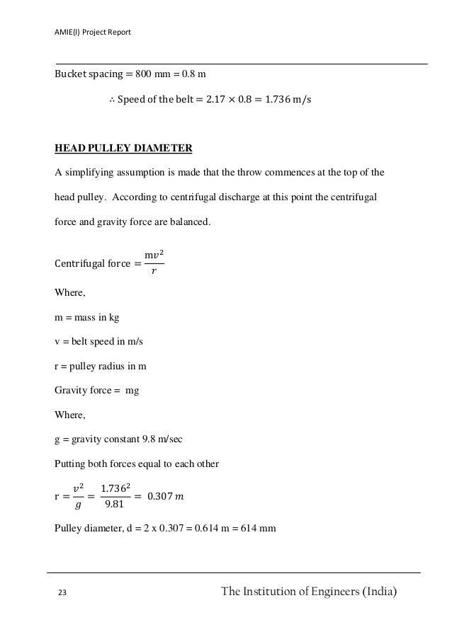 belt bucket elevator design pdf