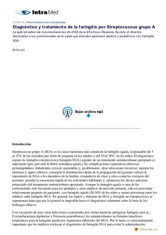 12 NOV 12   Reco mendacio nes actualizadasDiagnóstico y tratamiento de la faringitis por Streptococcus grupo ALa guía actu...