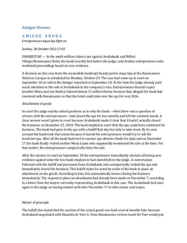 Amigoe NieuwsAMIGOE ARUBAEntrepreneurs Aqua Spa fight onSunday, 28 October 2012 17:02ORANJESTAD — In the multi-million cla...