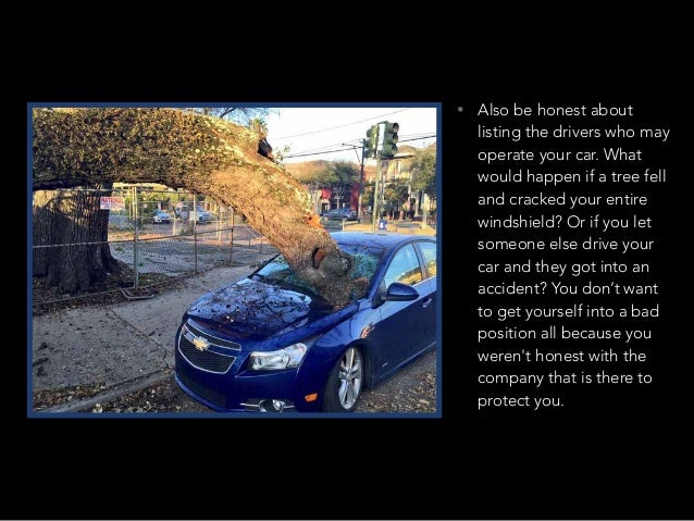 • Also be honest about listing the drivers who may operate your car. What would happen if a tree fell and cracked your ent...