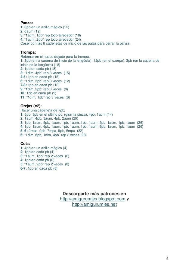 PATRON GRATIS ELEFANTE AMIGURUMI 7051 | 903x638