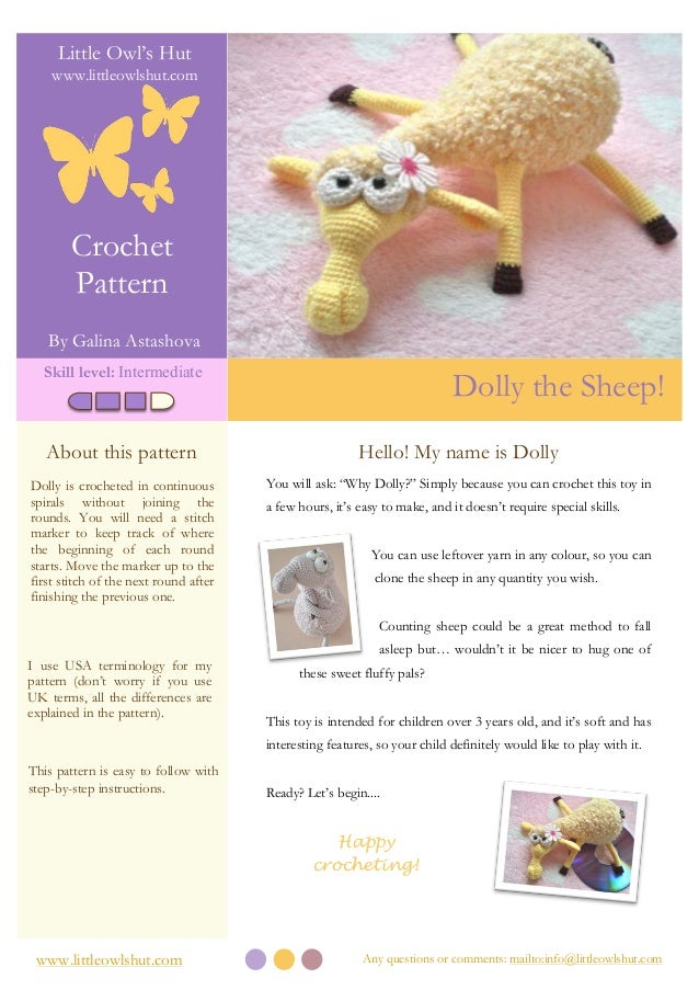 Any questions or comments: mailto:info@littleowlshut.comwww.littleowlshut.com Crochet Pattern By Galina Astashova Little O...