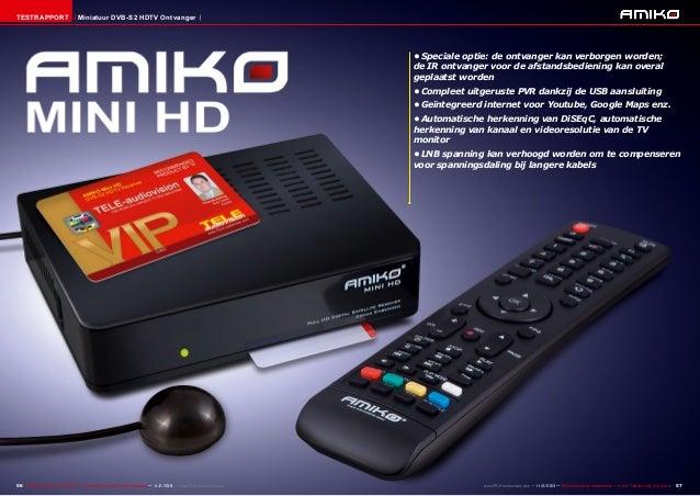 Testrapport  Miniatuur DVB-S2 HDTV Ontvanger  •Speciale optie: de ontvanger kan verborgen worden; de IR ontvanger voor de...