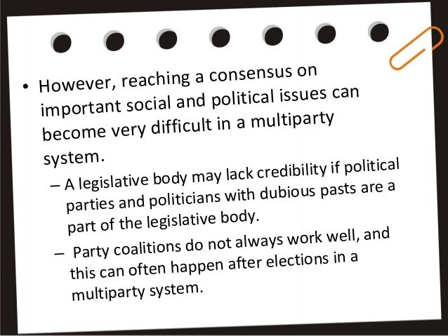 the disadvantages and successes of the bolivian multi party political system Background to political participation in bolivia   multi-party democracy   political parties, women legislators and elected officials, representatives of  associations that support locally elected women, female  sive successes,  including the approval of  positive impact, its implementation has not been  without drawbacks.