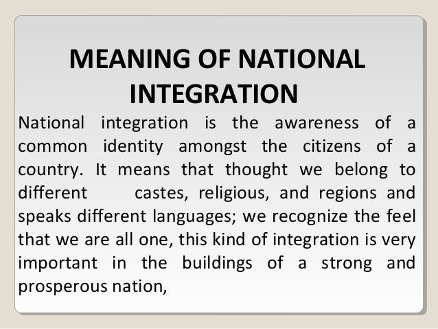 what does national integration mean
