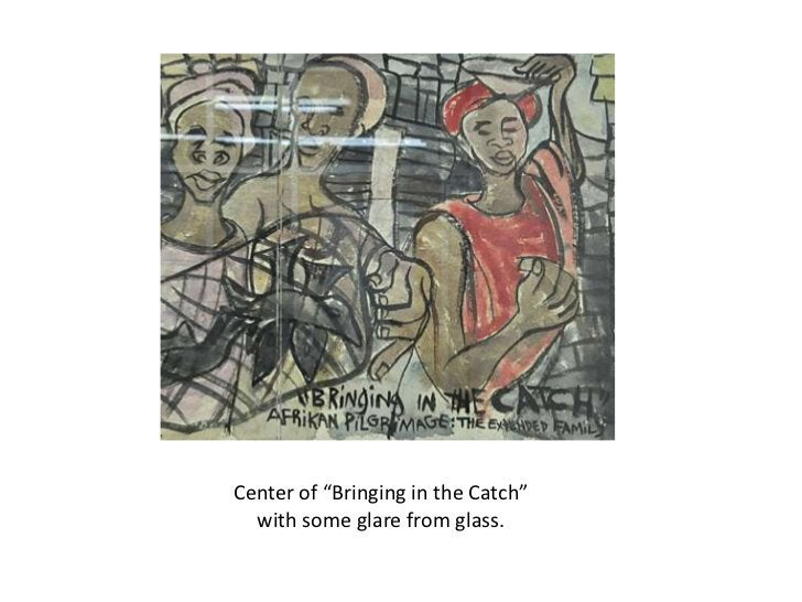 """Center of """"Bringing in the Catch""""  with some glare from glass."""