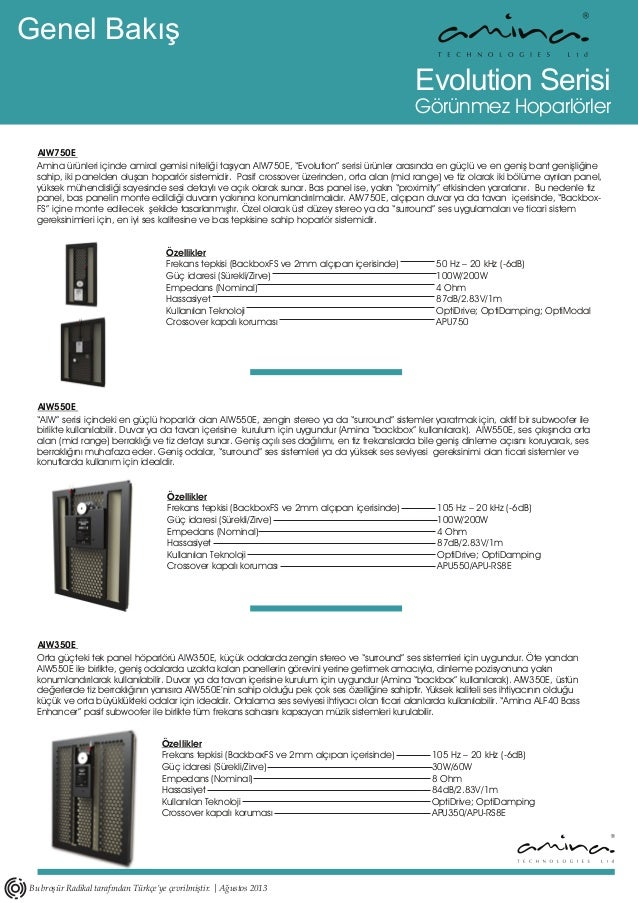 AIW750E Evolution Serisi Görünmez Hoparlörler Genel Bakış AIW550E AIW350E Özellikler Frekans tepkisi (BackboxFS ve 2mm alç...