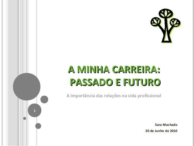 A MINHA CARREIRA:A MINHA CARREIRA: PASSADO E FUTUROPASSADO E FUTURO A importância das relações na vida profissional Sara M...