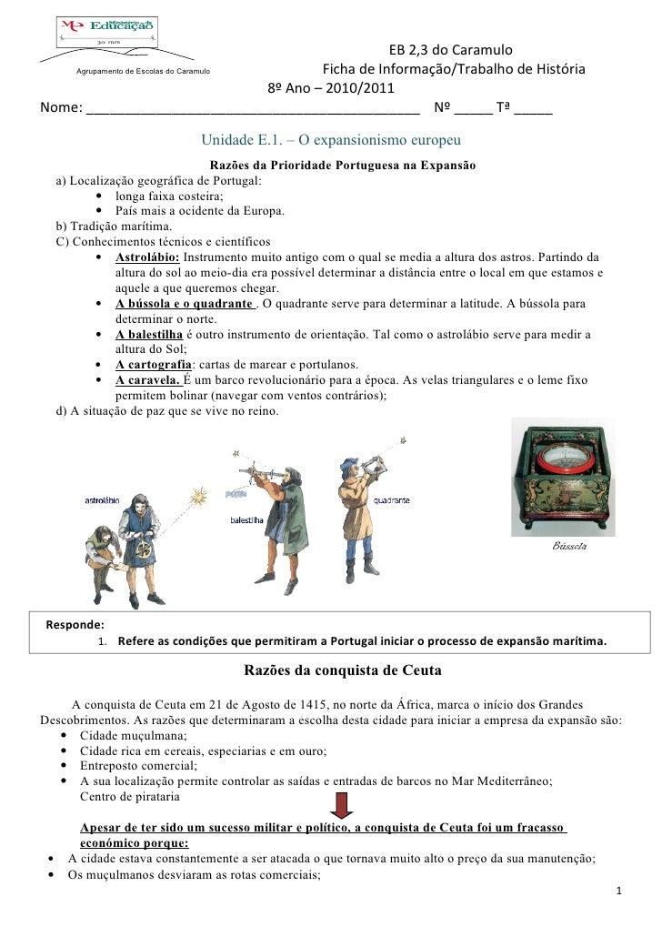 EB 2,3 do Caramulo    Agrupamento de Escolas do Caramulo         Ficha de Informação/Trabalho de História                 ...