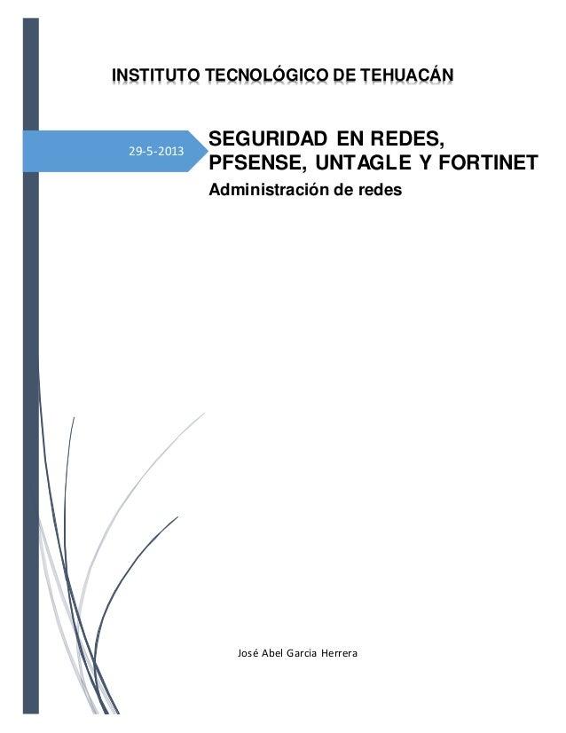 29-5-2013INSTITUTO TECNOLÓGICO DE TEHUACÁNSEGURIDAD EN REDES,PFSENSE, UNTAGLE Y FORTINETAdministración de redesJosé Abel G...