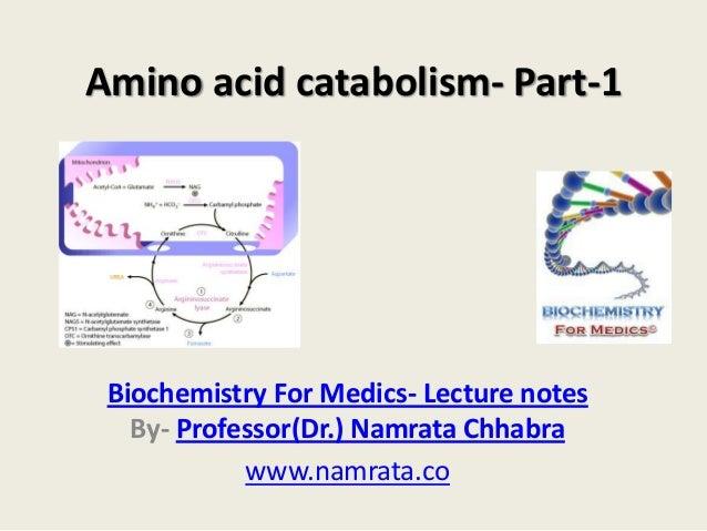 Amino acid catabolism- Part-1  Biochemistry For Medics- Lecture notes By- Professor(Dr.) Namrata Chhabra www.namrata.co