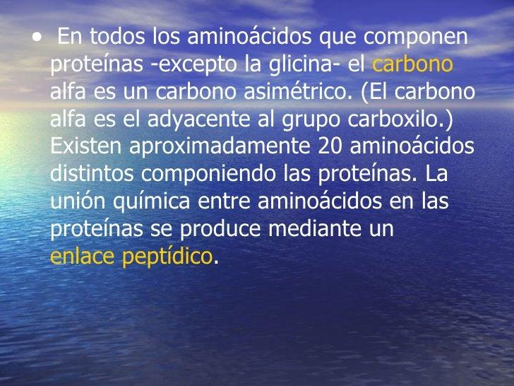 • En todos los aminoácidos que componen proteínas -excepto la glicina- el carbono alfa es un carbono asimétrico. (El carbo...