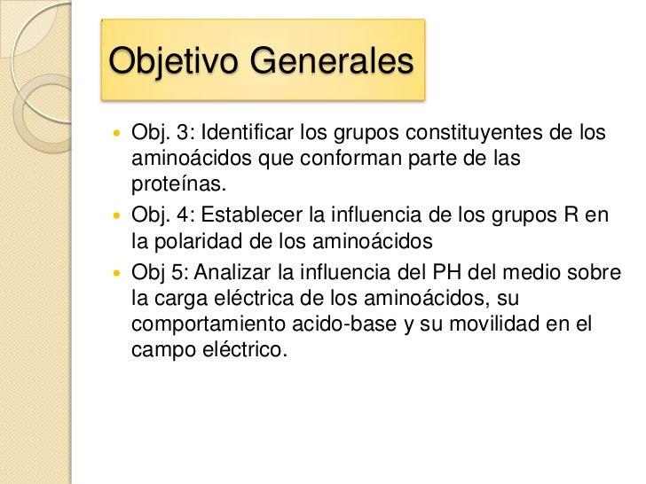 Objetivo Generales   Obj. 3: Identificar los grupos constituyentes de los    aminoácidos que conforman parte de las    pr...