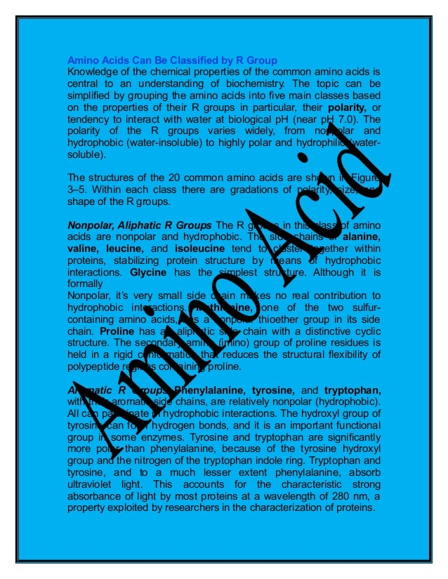 Amino acids amino acids can be classified by r group knowledge of the chemical properties of the common thecheapjerseys Gallery