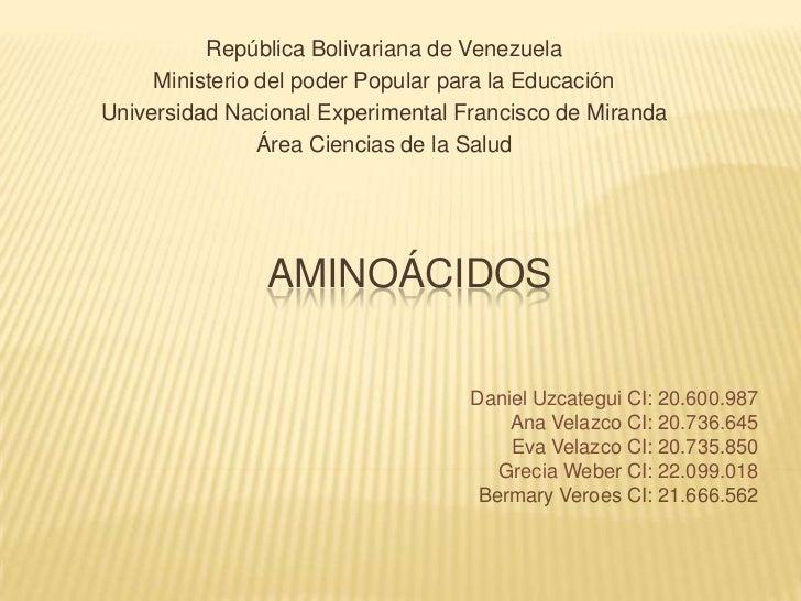 República Bolivariana de Venezuela     Ministerio del poder Popular para la EducaciónUniversidad Nacional Experimental Fra...