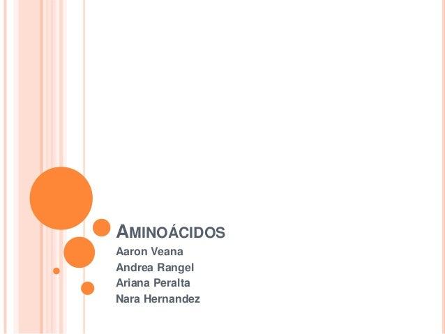 AMINOÁCIDOS Aaron Veana Andrea Rangel Ariana Peralta Nara Hernandez