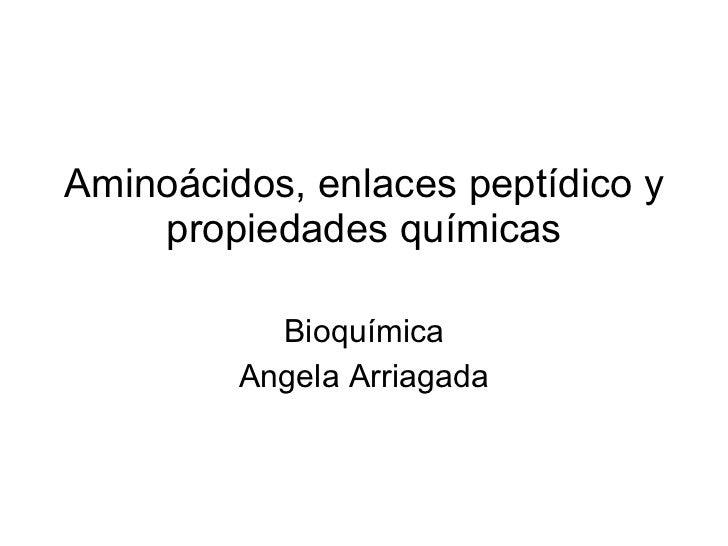 Aminoácidos, enlaces peptídico y propiedades químicas Bioquímica Angela Arriagada