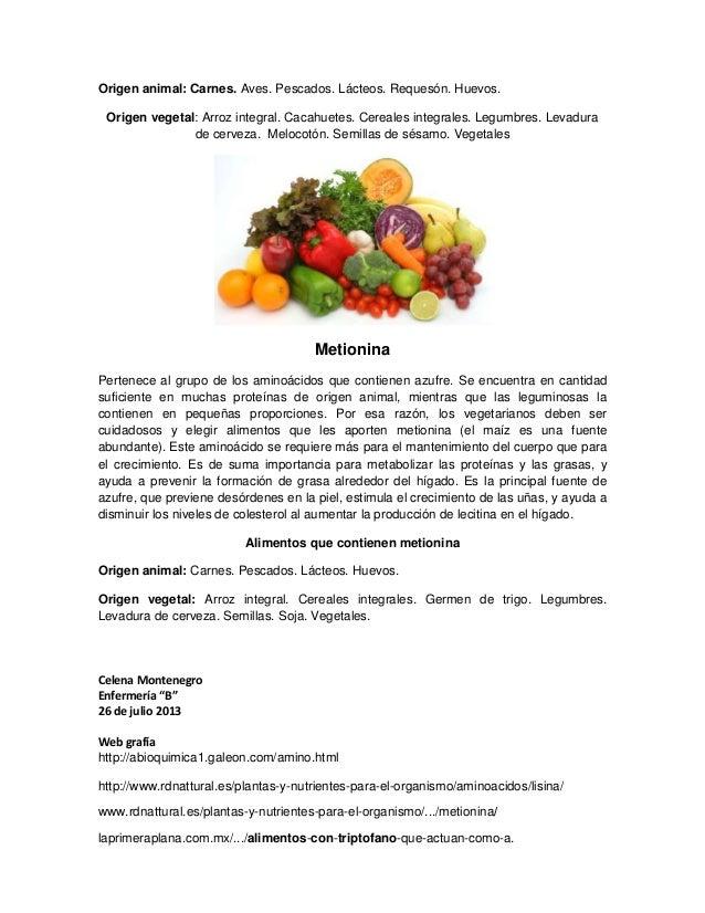 Amino cidos esencialesy los alimentos que lo contienen - Hierro alimentos que lo contienen ...