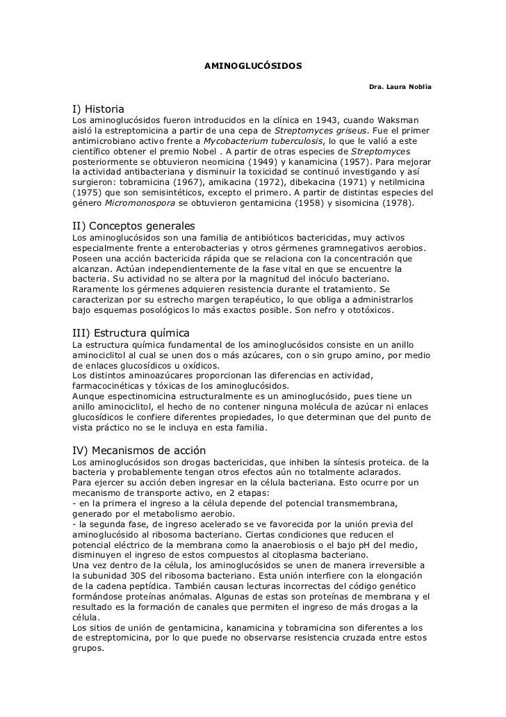 AMINOGLUCÓSIDOS                                                                     Dra. Laura NoblíaI) HistoriaLos aminog...