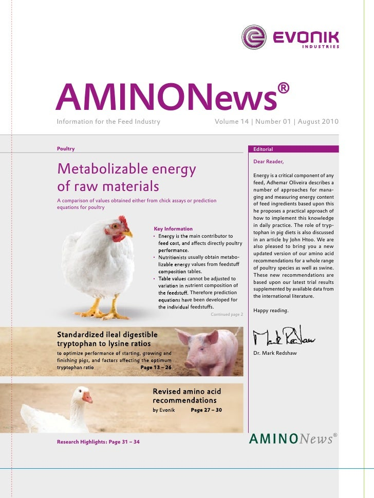 AMINONews®Information for the Feed Industry                                    Volume 14 | Number 01 | August 2010Poultry ...