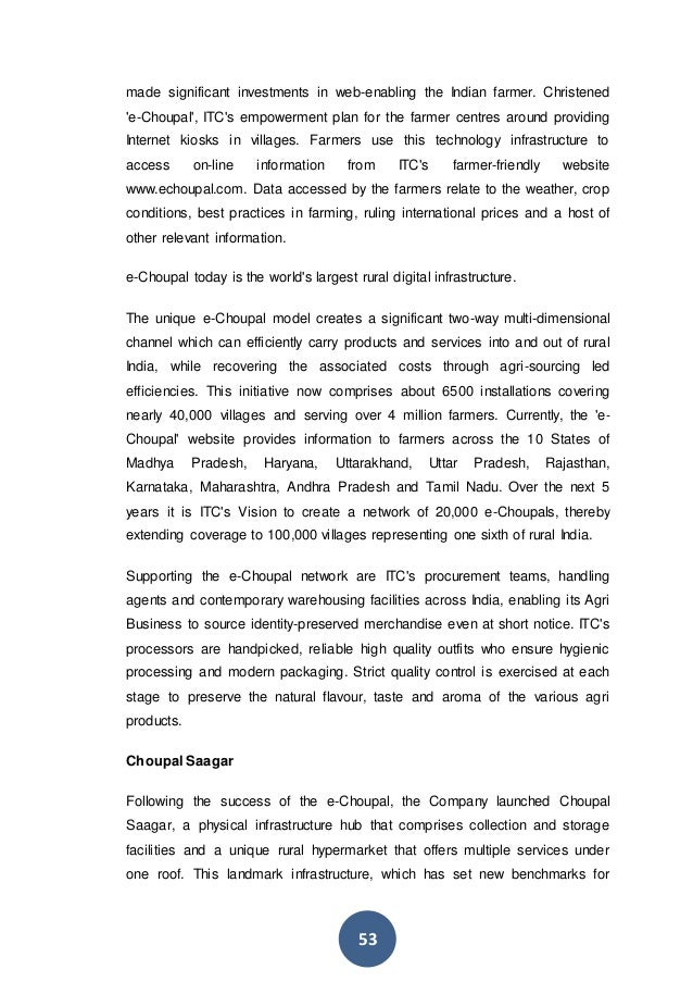 """csr project report on itc ltd Corporate social responsibility (csr) is a concept that has attracted worldwide   on financial performance of the company – """" a review of itc ltd   social business projects environment sustainability employment  nearly 90%  of fortune 500 firms make csr disclosures in their annual reports."""