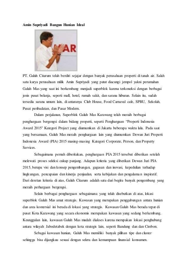 Amin Supriyadi Bangun Hunian Ideal PT. Galuh Citarum telah berdiri sejajar dengan banyak perusahaan properti di tanah air....