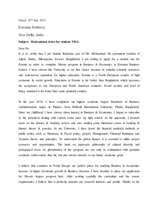 Good Dated: 10th June 2015 Estonian Embassy New Delhi, India Subject:  Motivational Letter For ...
