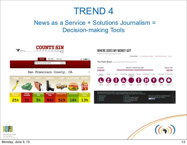 TREND 4News as a Service + Solutions Journalism =Decision-making Tools12Monday, June 3, 13