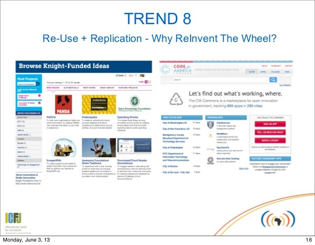 TREND 8Re-Use + Replication - Why ReInvent The Wheel?16Monday, June 3, 13