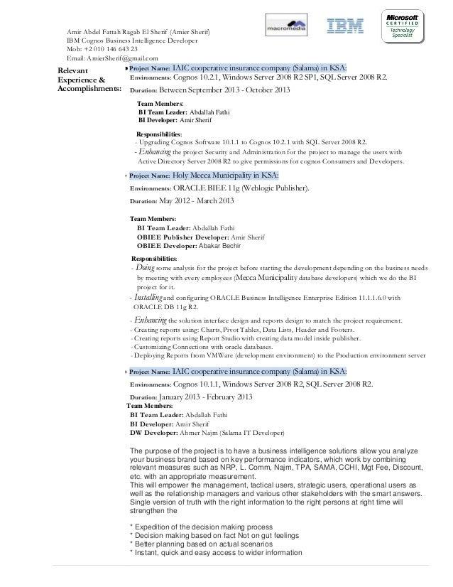 Cognos Report Developer Resume - Professional Resume Templates •