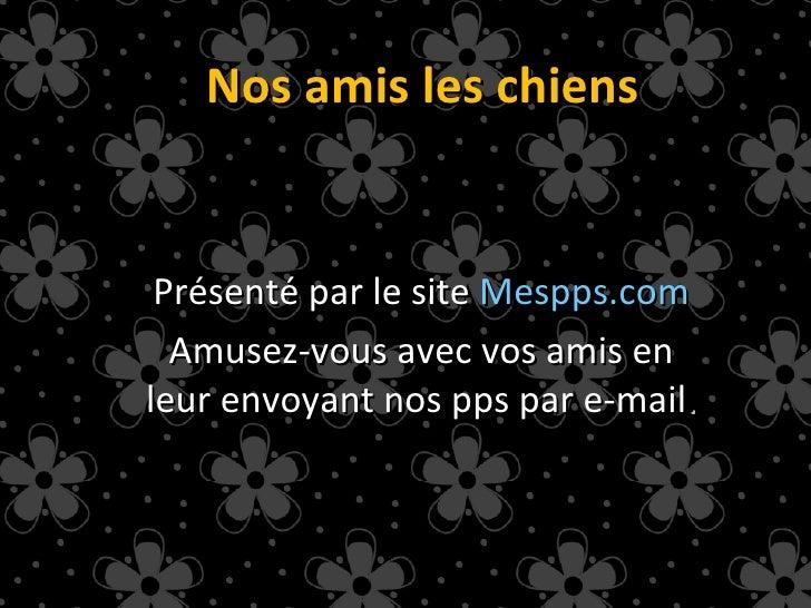 Nos amis les chiens Présenté par le site  Mespps.com Amusez-vous avec vos amis en leur envoyant nos pps par e-mail .