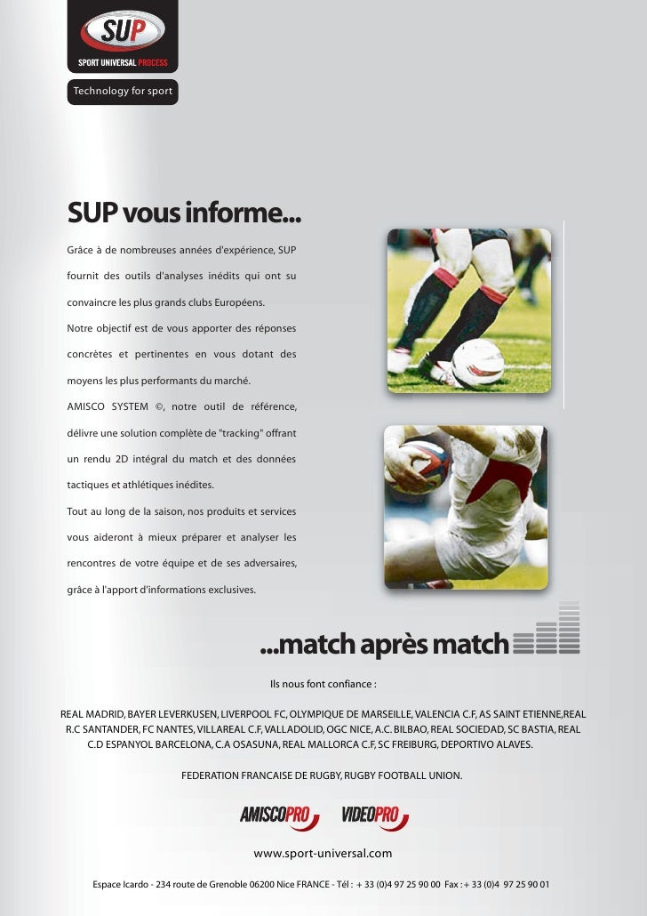 Technology for sport      SUP vous informe...  Grâce à de nombreuses années d'expérience, SUP   fournit des outils d'analy...