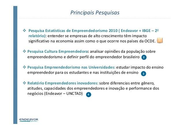 Principais PesquisasPesquisa Estatísticas de Empreendedorismo 2010 ( Endeavor + IBGE – 2ºrelatório): entender se empresas ...