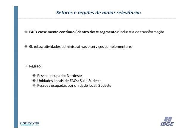Setores e regiões de maior relevância:EACs crescimento contínuo ( dentro deste segmento): indústria de transformaçãoGazela...
