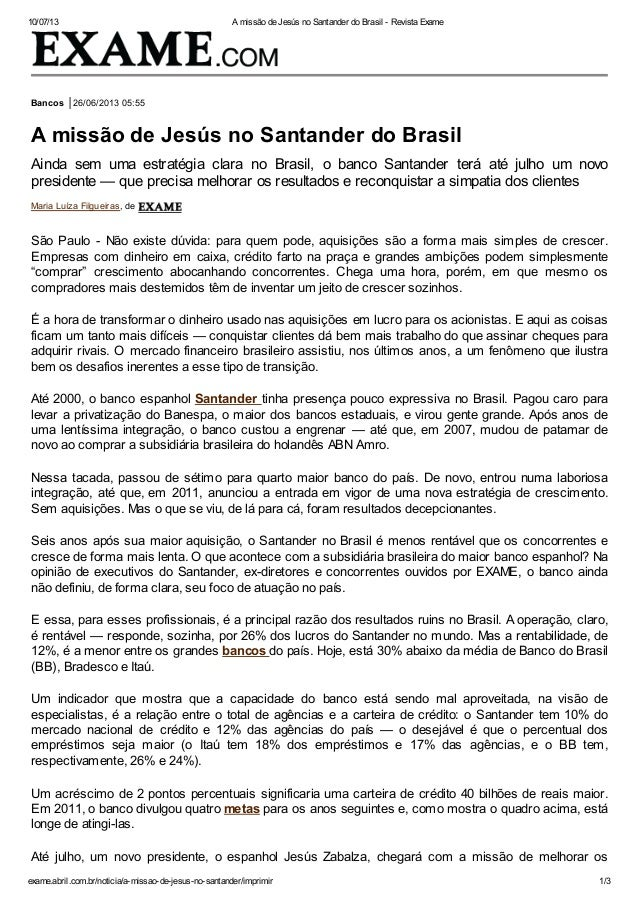 10/07/13 A missão de Jesús no Santander do Brasil - Revista Exame exame.abril.com.br/noticia/a-missao-de-jesus-no-santande...