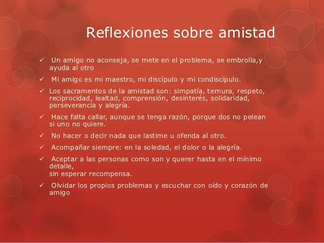 la amistad reflection
