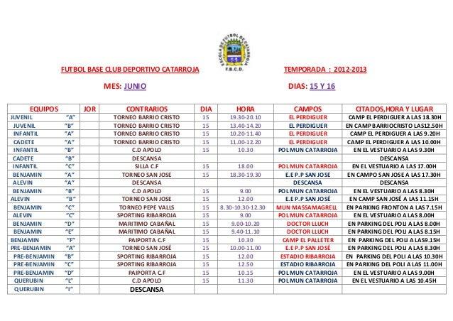 FUTBOL BASE CLUB DEPORTIVO CATARROJA TEMPORADA : 2012-2013MES: JUNIO DIAS: 15 Y 16EQUIPOS JOR CONTRARIOS DIA HORA CAMPOS C...