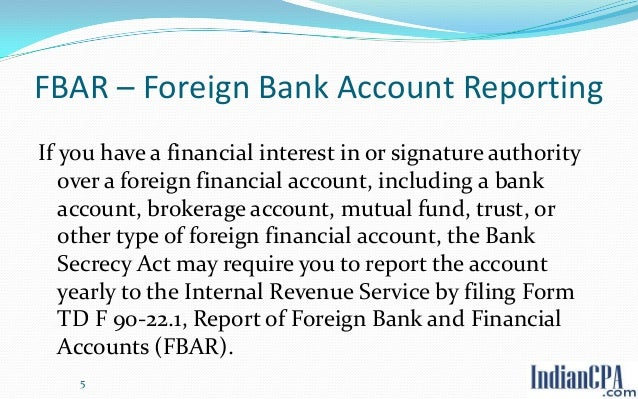 form 90 22.1 report of foreign bank and financial accounts fbar