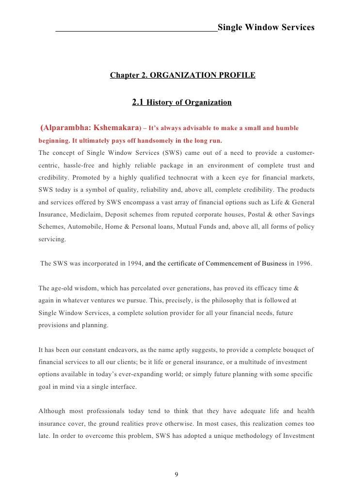 Single Window Services                           Chapter 2. ORGANIZATION PROFILE                                  2.1 Hist...