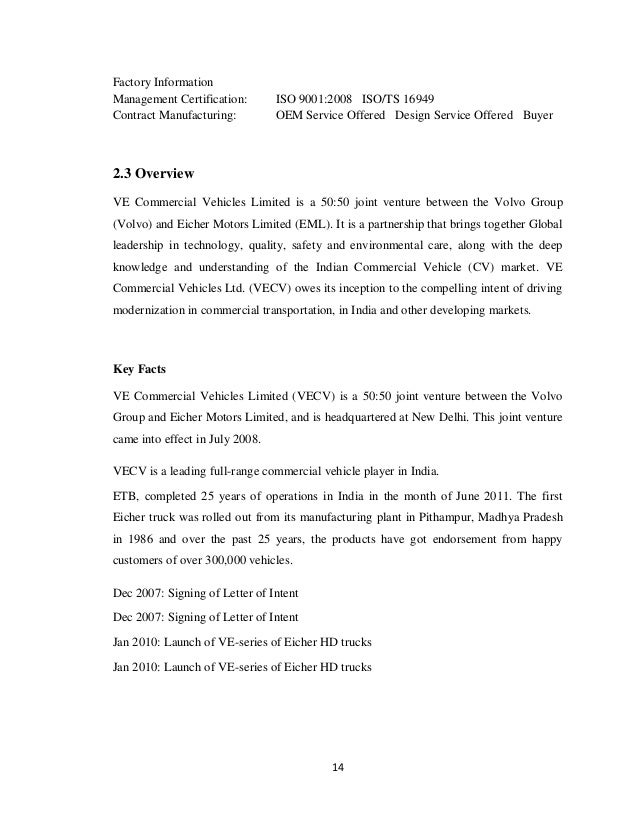 project report on volvo eicher commercial vehicle