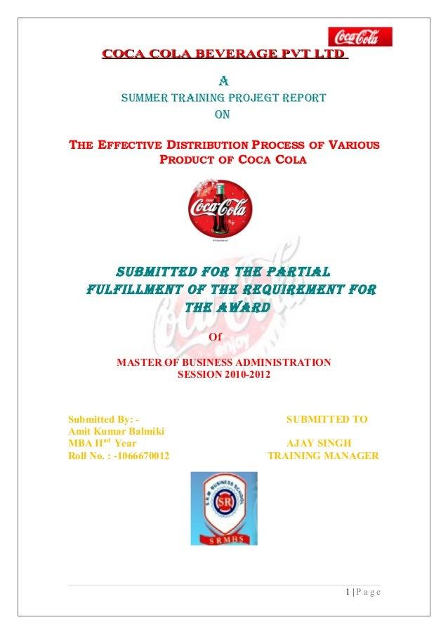 COCA COLA BEVERAGE PVT LTD                          A           SUMMER TRAINING PROJEGT REPORT                         ONT...