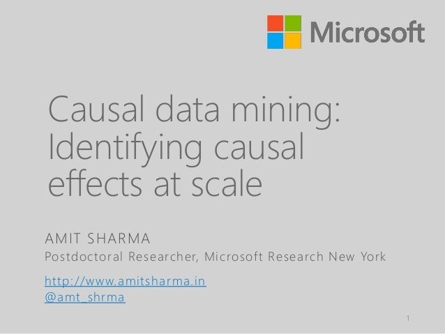 Causal data mining: Identifying causal effects at scale 1 AMIT SHARMA Postdoctoral Researcher, Microsoft Research New York...
